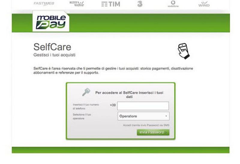 selfcare mobilepay.it come disattivare abbonamento